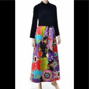 VTG asian Dynasty hostess dress velvet quilted